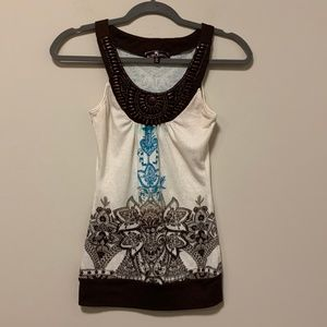 Beige, brown, and blue tank top with detailed knit